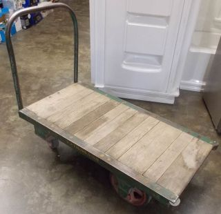 Vintage Antique Fairbanks Industrial Factory Cart Wood And Cast Iron photo