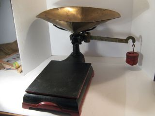 Double Merchant Counter Scale W/brass Arm & Basket Red & Black W/3 /weights photo