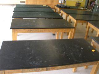 Vintage Laboratory Table Oak Legs Oak Top Flat Screen Tv Stand Kitchen Island photo