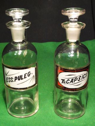 2 Old Chemist Bottles With Tops & Recessed Glass Labels photo