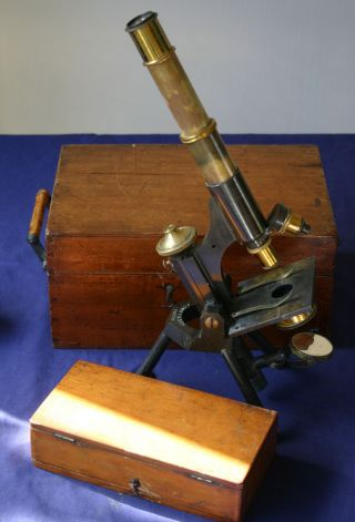 19thcentury All Brass Microscope By J.  Swift & Son Case& Box Of Slides photo