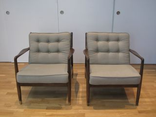 Pair Selig Chairs Danish Mid Century Modern Completely Restored Kofod Larsen Dux photo