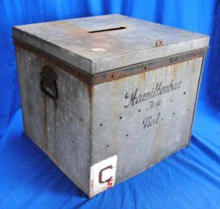 Antique Old Vintage Metal Industrial Ballot Box Hamiltonban Township Pa photo