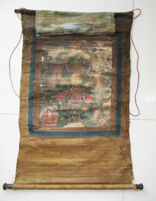Mongolian Antique Mongolia Buddhism Buddhist Thangka Thanka Painting Large 18c19 photo