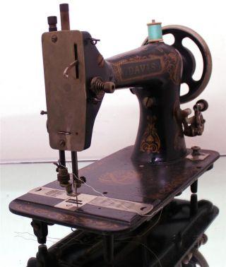 Rare Antique Davis Heavy Duty Treadle Sewing Machine Vibrating Shuttle photo