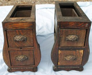 Antique Oak Treadle Sewing Machine Drawers 4 Fancy Ornate photo