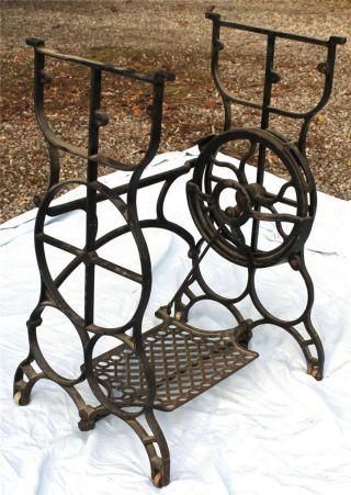 Antique Treadle Sewing Machine Cast Iron Base Industrial Machine Age Table Legs photo