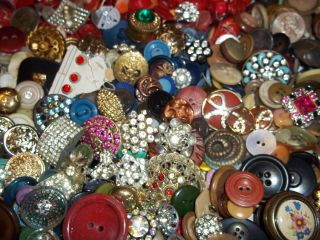 Estate Huge 6 Lbs Buttons Lots Vintage Rhinestone New Glass Antique Czech Sewing photo