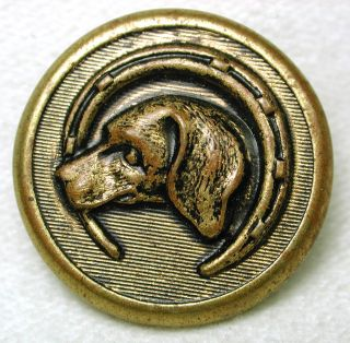 Antique Brass Button Hunting Dog & Horse Shoe Design photo