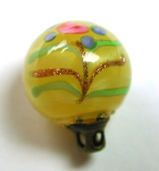 Antique Glass Ball Button Yellow W/ Twin Rose Flower Design photo