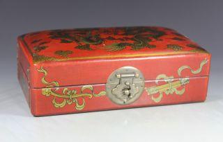 Chinese Old Wood Handwork Painting Dragon Phoenix Jewel Box photo