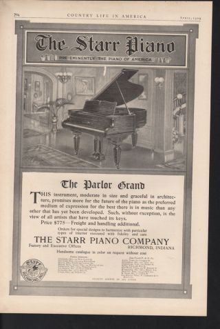 Fp 1909 Starr Piano Music Play Richmond Instrument House photo