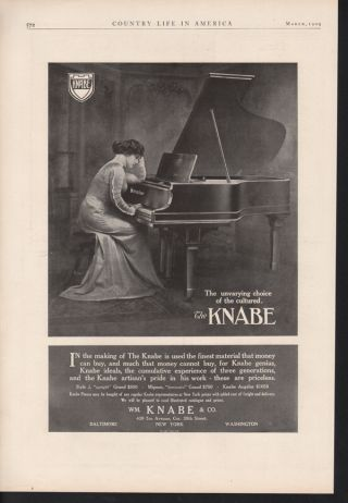 Fp 1909 Knabe Piano Music Woman Angelus Mignon Baltimore photo