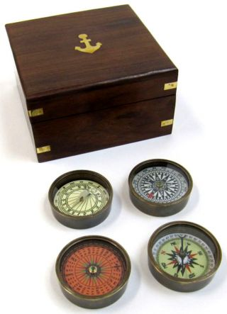 Solid Brass Compass Set With Wooden Box Nautical Coloured Dial Maritime Gift photo