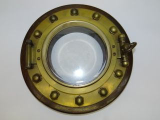 Antique Wood Brass Beveled Glass Nautical Wall Hanging Steampunk Ships Porthole photo