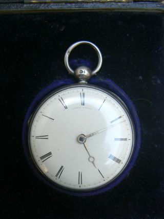 Lowndes London Antique Silver Pocket Watch Roman Numerals Perfect Face Repair photo