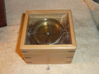 Master Gimbled Compass Wooden Box With Glass Top photo