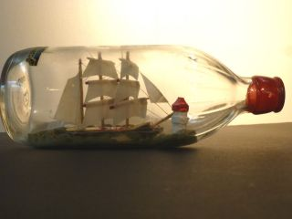 Vintage Nautical Ship Model In A Bottle From Cliff House San Francisco 1950 ' S photo