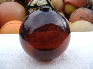 6 Inch Tall Northwest Glass Company Glass Float Amber Ball (311) photo