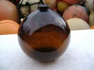 6 Inch Tall Northwest Glass Company Glass Float Amber Ball (312) photo