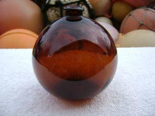 4+1/2 Inch Tall Northwest Glass Company Glass Float Amber Ball (316) photo