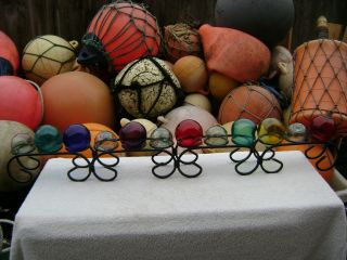 Wrought Iron Metal Glass Float Ball Buoy Holder Holds 12 Floats photo