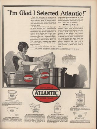 Fp 1923 Atlantic Metal Ware Laundry Wash Machine Pail Kettle Fashion Strain Pan photo