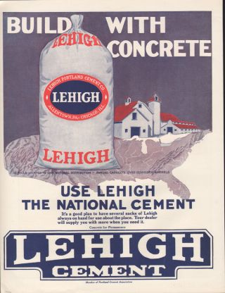 Fp 1916 Lehigh Cement Concrete Allentown Construction Building Farm Barn Sack Ad photo
