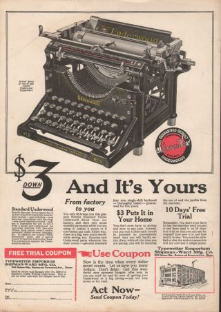 Fp 1921 Shipman Ward Typewriter Keyboard Underwood Office Machine Emporium Lette photo
