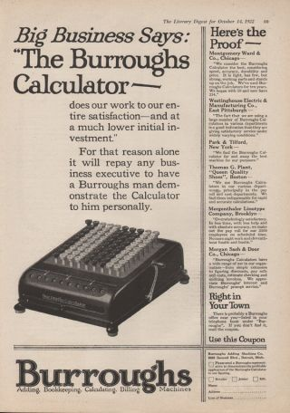 Fp 1922 Burroughs Calculator Adding Billing Machine Keyboard Letter Office Detro photo