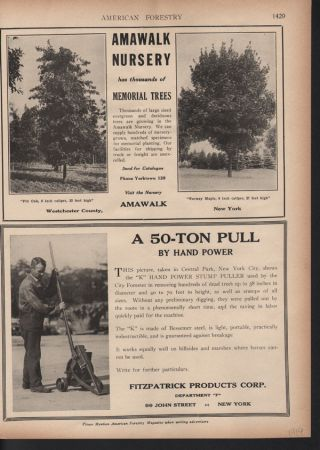 Fp 1919 Amawalk Tree Nursery Fitzpatrick Stump Puller Machine Outdoor Tools Ad photo