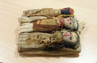 Antique Folk Art Rag Dolls 3 Cloth Figures In Bed Ethnographic Native American photo