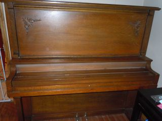 Early Upright Tiger Oak Piano Made By Bradley & Sons (fla.  Pick - Up. ) photo