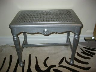 Vintage Metallic Silver Cane Bench French Provincial Stool Hollywood Glam photo