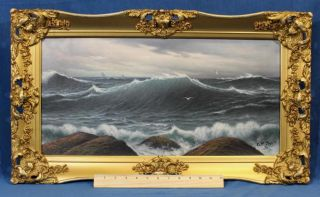 19thc Antique Andrew Millrose O/c Seascape Oil Painting Of Ocean Waves Nr photo