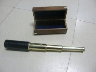 Nautical Brass Pullout Telescope With Wooden Box Collectible Marine Prop Gifts photo