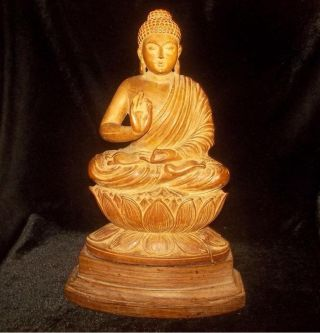 Antique Chinese Carved Wood Figure Kwan Yin Buddha Statue On A Lotus Flower photo