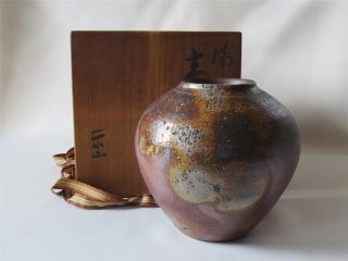 Japanese Bizen Ware Crock Vase W/signed Box; Style & Glaze/ 406 photo