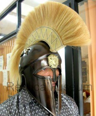 Antique Greek Corinthian Armor Helmet W/dragon Collectible Greek Spartan Helmet photo