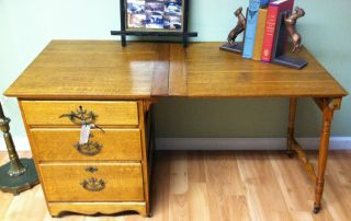 Antique Tiger Oak Desk/sewing Table W/drawers & Collapsale Top Really photo