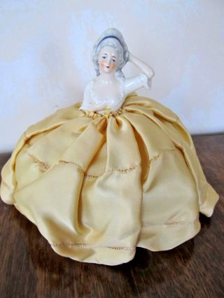 Pin Cushion Half Doll Satin Dress & Cushion; Germany 1920 - 1935t photo