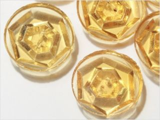 12 Czech Vtg Clear Topaz Depression Glass Buttons 19 Mm photo