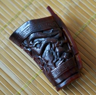 Chinese Old Antique Ox Horn Carved Dragon Jiao Cup photo