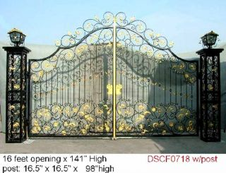 Custom & Fancy All Wrought Iron Driveway Gate Now 10% Off Sale Not Casted photo