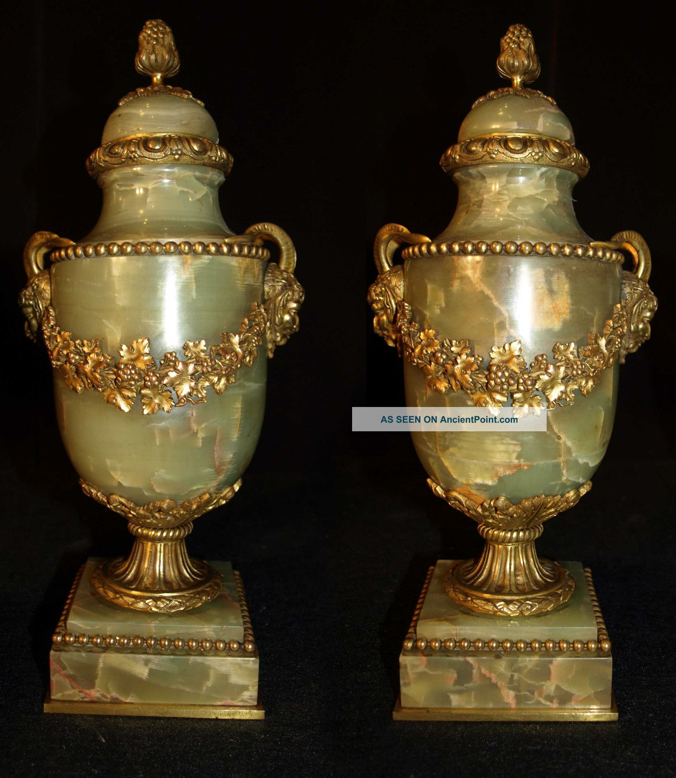 Antique Pair Of Cassoulettes Vases From France Gilt Bronze And Onyx,  1880 Columns & Posts photo