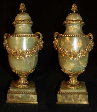 Antique Pair Of Cassoulettes Vases From France Gilt Bronze And Onyx,  1880 photo
