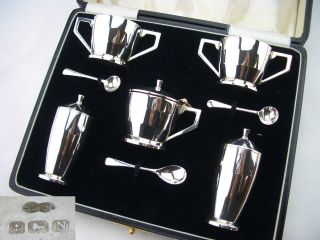 Art Deco Silver Cruet Set Birm 1937 Sanders & Mackenzie 4oz photo