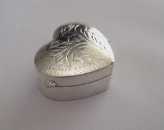 Solid Silver Decorative Heart Snuff Box photo