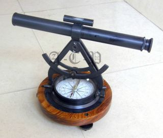 Antique Alidade Theodolite Compass With Wood Base Nautical Collectible Prop Gift photo
