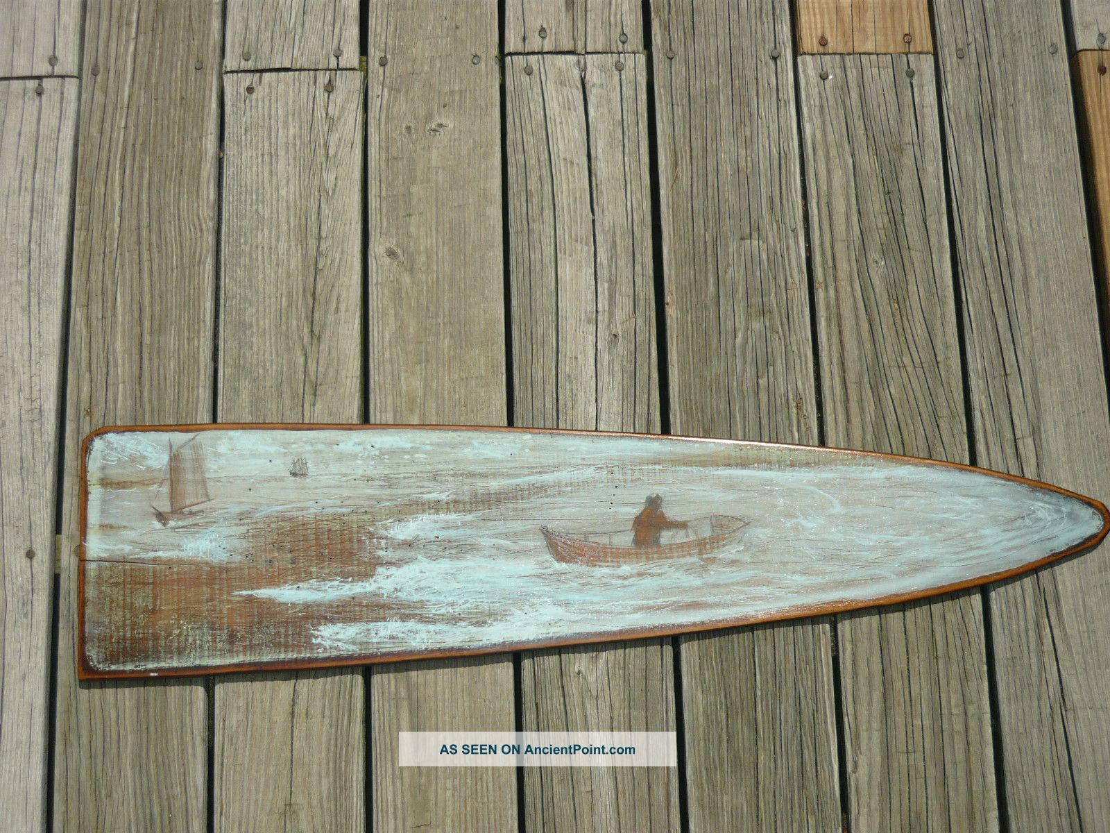 Antique Board.  With A Maritime Painting On It.  Sailing Boats.  Room Decor.  Fishing. Other photo